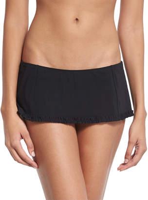 Tory Burch Solid Ruffle Skirted Swim Bikini Bottom, Black