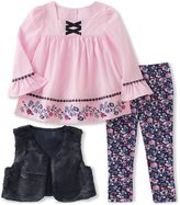 Kids Headquarters Pink Flower-Accent Tunic Set - Infant, Toddler & Girls