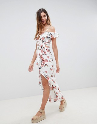 Glamorous Maxi Skirt With Frill Hem And Split Front In Romantic Floral Two-Piece