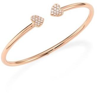 Hueb Hearts Diamond & 18K Rose Gold Open Bangle