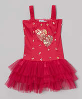 Fuchsia Sequin Heart Lucie Skirted Leotard - Toddler & Girls