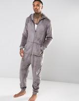 Asos Loungewear Fleece Hoodied Onesie In Grey