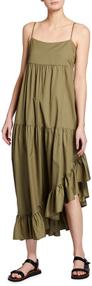 Frame Gemma Tiered Asymmetric Ruffle Dress