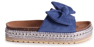 Linzi RARE - Blue Suede Slip On Slider With Bow Detail and Beaded Trim