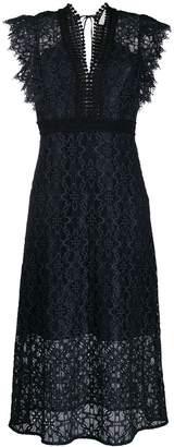 Lace Cap-Sleeve Midi Dress