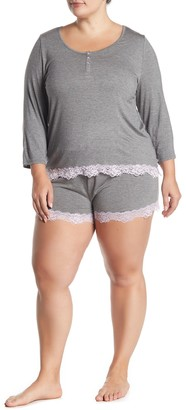 Joe Fresh Henley 3/4 Length Sleeve Top & Lace Trim Shorts Pajama 2-Piece Set (Plus Size)