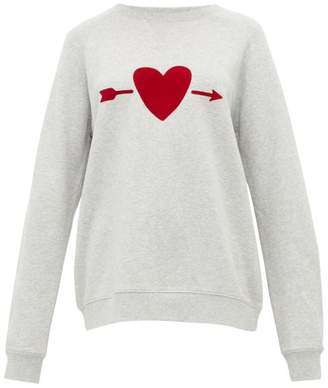 The Upside One Love Heart Print Cotton Sweatshirt - Womens - Grey