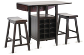 Reynolds Modern Drop-Leaf Pub Set with Wine Rack (Set of 3)