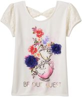 """Disney D-Signed Beauty and the Beast Girls 7-16 Mrs. Potts & Chip """"Be Our Guest"""" Hatchi Graphic Tee"""
