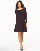 Soma Intimates Long Sleeve Ruched Dress Ebonized Maroon