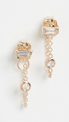 Zoë Chicco 14k Gold White Diamond Baguette Studs