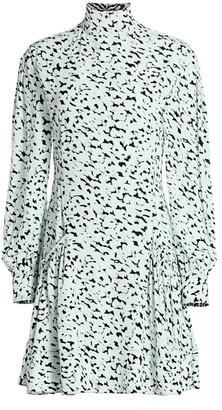 Proenza Schouler Puff-Sleeve Printed Mini Dress