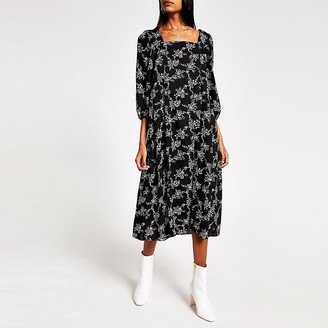 River Island Black printed long sleeve midi swing dress