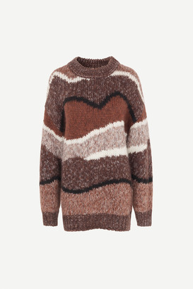 Samsoe & Samsoe Janie Crew Neck Heavy Knitted Sweater - L | brown | Acrylic Multi Coloured - Brown/Brown