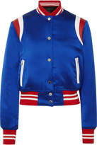 Amiri Leather-trimmed Silk-satin Bomber Jacket - Royal blue
