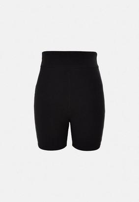 Missguided Plus Size Black Rib Biker Shorts