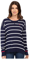 U.S. Polo Assn. Hi-Lo Hem Striped Pullover Sweater