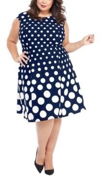 London Times Plus Size Graduated-Dot Dress