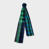 Paul Smith Men's Navy Gingham Check Lambswool, Silk And Cashmere-Blend Scarf