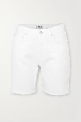 AGOLDE Rumi Frayed Denim Shorts - White
