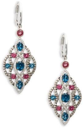 LeVian Le Vian Deep Sea Blue Topaz Raspberry Rhodolite Vanilla Diamonds and Chocolate Diamonds 14k Vanilla Gold Earrings