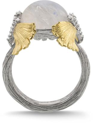Michael Aram Butterfly Ginkgo Dome Ring w/ Moonstone & Diamonds, Size 7