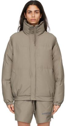 Essentials Khaki Nylon Puffer Jacket