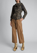 Dries Van Noten Valera Leopard Nylon Short Tie-Waist Jacket