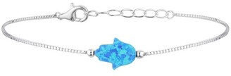 Mocha Sterling Silver Mini Hamsa Fine Bracelet - Blue