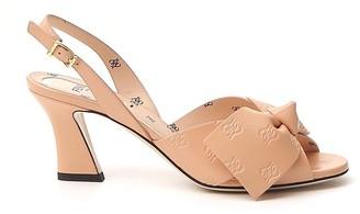 Fendi Bow Detail Slingback Sandals