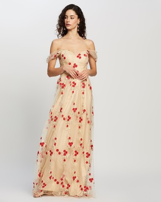 Bariano Blossom Drape Sleeve Gown