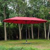 Outsunny 15' Outdoor Twin Patio Umbrella Aluminum Outdoor Market Double-Sided Umbrella