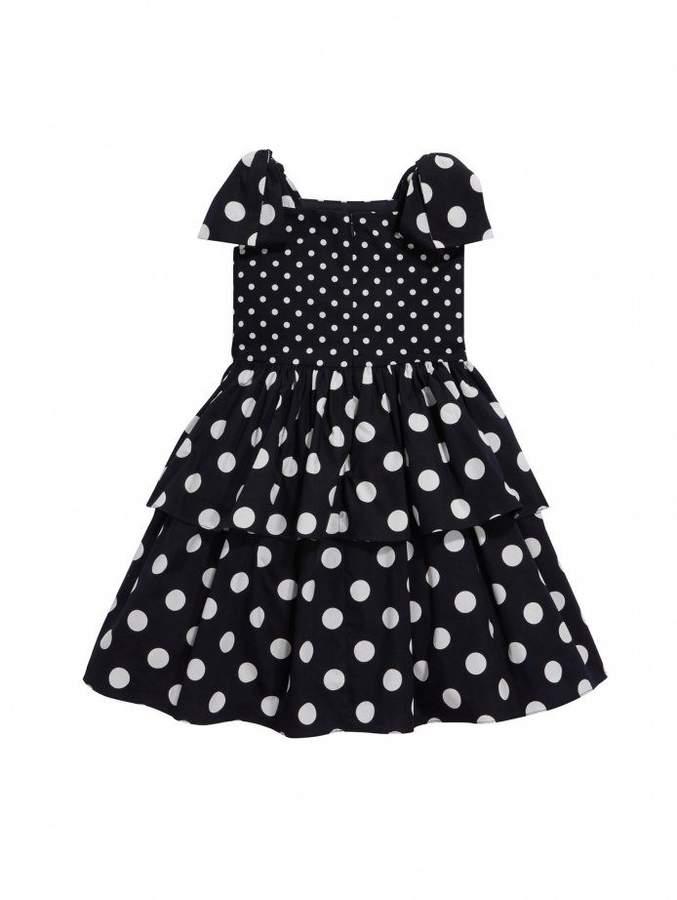 Oscar de la Renta Tiered Polka Dot Cotton Dress