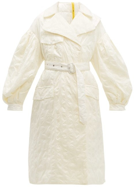 edf27ae4b 4 Moncler Dinah Balloon Sleeve Floral Embroidered Coat - Womens - White