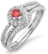 DazzlingRock Collection 0.50 Carat (ctw) 10k White Gold White Diamond And Ruby Bridal Engagement Ring Set 1/2 CT (Size 9)
