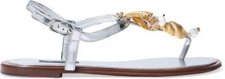 Dolce & Gabbana Embellished Metallic Leather Sandals