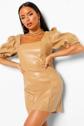 boohoo Petite Square Neck PU Puff Sleeve Mini Dress
