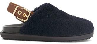 Marni Shearling Slingback Sandals - Navy