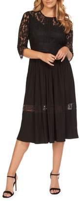 Dex Pleated Lace Knee-Length Dress