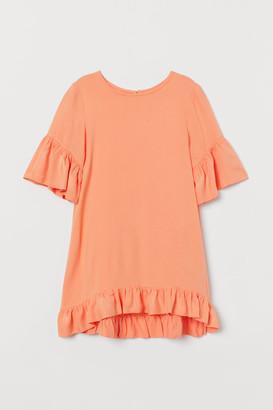 H&M Ruffle-trimmed Dress - Orange