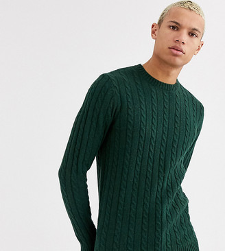 Asos Design DESIGN Tall lambswool cable knit sweater in bottle green