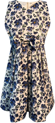 Helena Girl's Floral Print Sleeveless Dress with Bow, Size 4-6