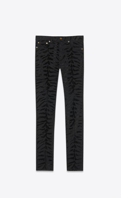 Saint Laurent Skinny Fit Jeans Skinny Jeans In Black Stretch Denim With Zebra Flocking Black 27
