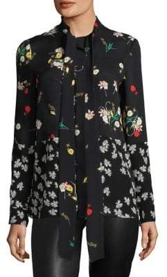 Derek Lam Mixed-Print Tie-Neck Blouse