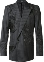 Alexander McQueen moth appliqued pin striped blazer
