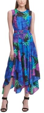 Calvin Klein Printed Tiered Handkerchief-Hem Dress
