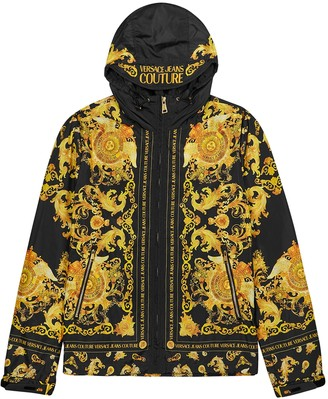 Versace Jeans Couture Baroque-print hooded shell jacket