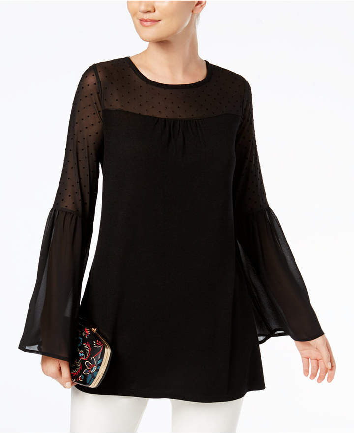 August Silk Illusion Bell-Sleeve Top