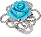 LeVian Le Vian® Manufactured Turquoise (10 ct. t.w.) and White Topaz (3/4 ct. t.w.) Rose Ring in Sterling Silver