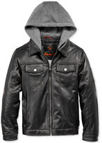 Hawke & Co Boys' Layered-Look Faux-Leather Hooded Jacket